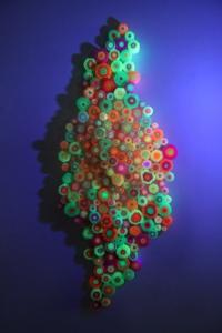 pink, yellow, orange & green plastic straws. 160 cm x 50