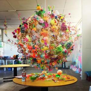 Pom Pom 2014, Collaboration with the children and artist Kel Mocilnik, artist assistant Jemimah Dodd