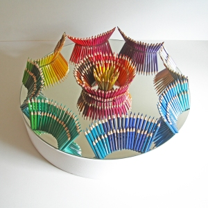 'As if by magic', Jemimah Dodd, 2014, mirror, pencils, 55cm diameter, 20cm high on plinth