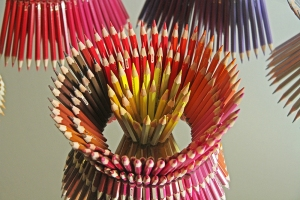 'As if by magic' (detail), Jemimah Dodd, 2014, mirror, pencils, 55cm diameter, 20cm high on plinth